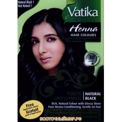 Хна для волос VATIKA HENNA HAIR COLOURS NATURAL BLACK (черная), 6 пакетиков по 10 г.