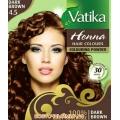 Хна для волос VATIKA HENNA HAIR COLOURS DARK BROWN (темно - коричневая), 6 пакетиков по 10 г.